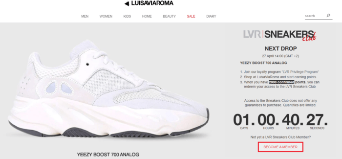 LVR Sneakers Club countdown page