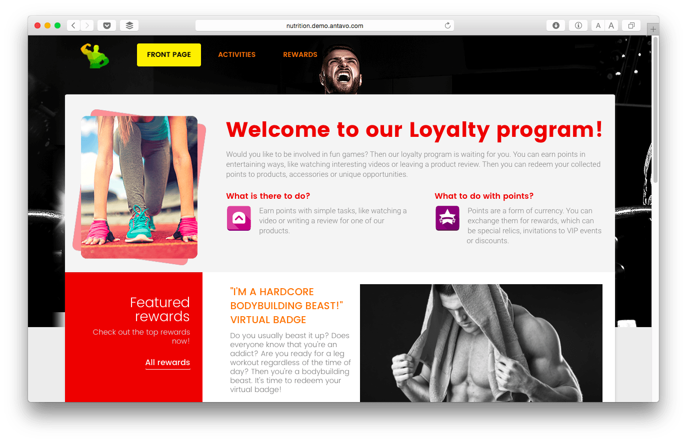 Shop.Builder's loyalty program has similar features as this demo page from Antavo Loyalty Software.