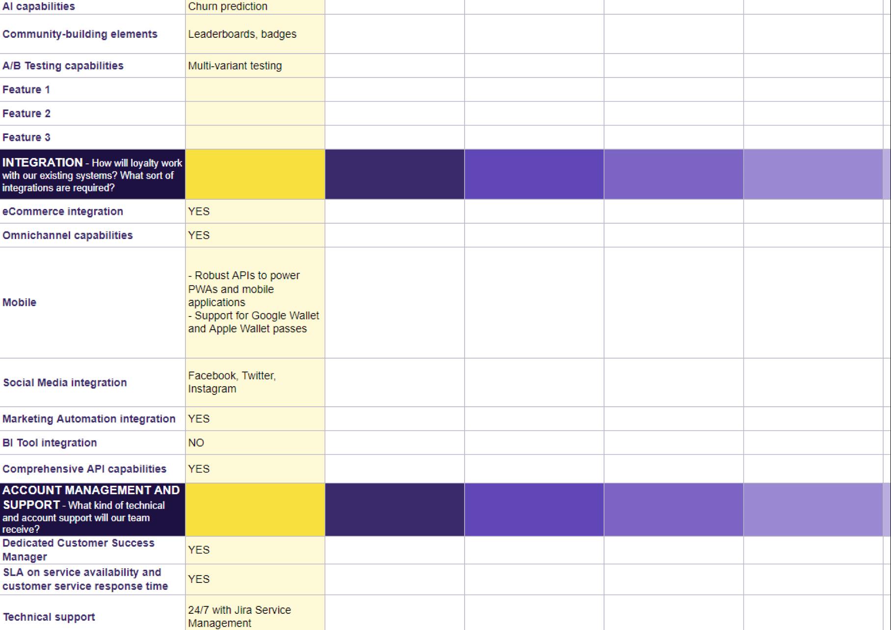 Antavo's Ebook: Loyalty Management Platform Comparison Worksheet - Loyalty platform comparison pt. 2.