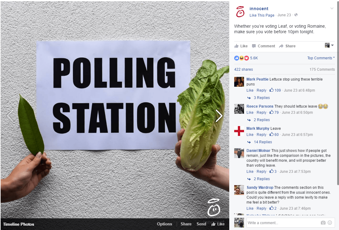 Some brands, like innocent, used the referendum to have a little bit of marketing fun.