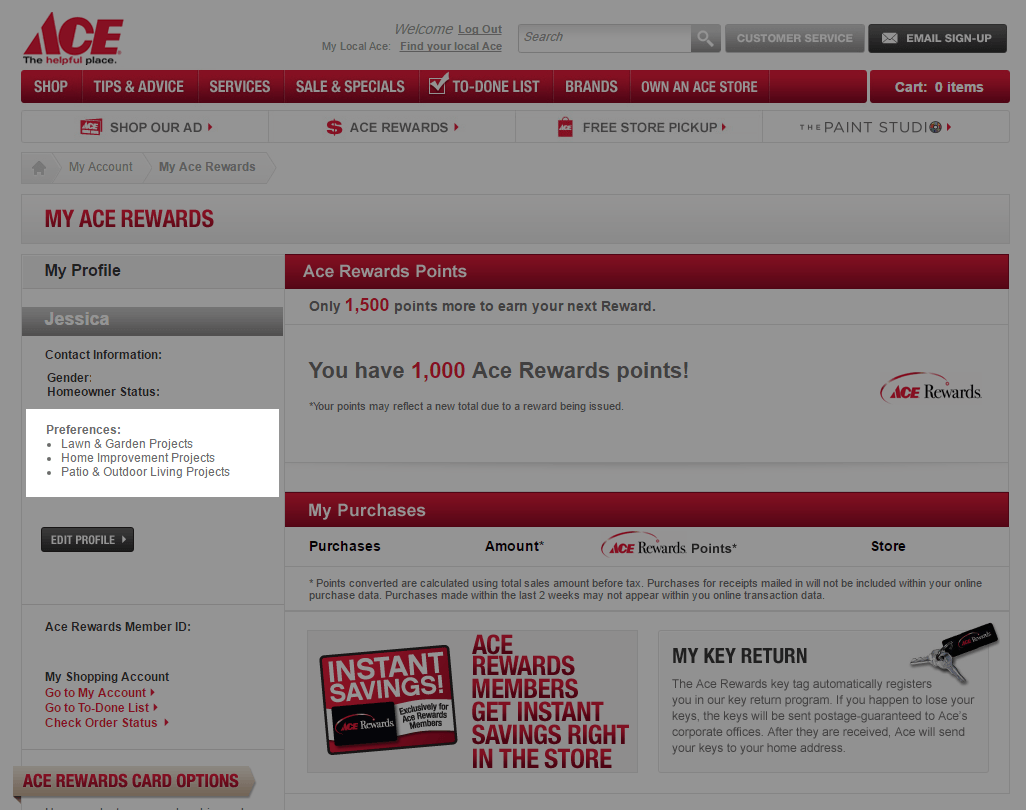 ACE Hardware asks for preferences upon rewards program sign-up in their web store.