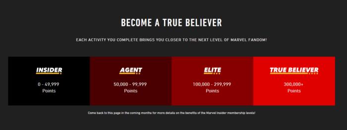 Marvel tiered loyalty program