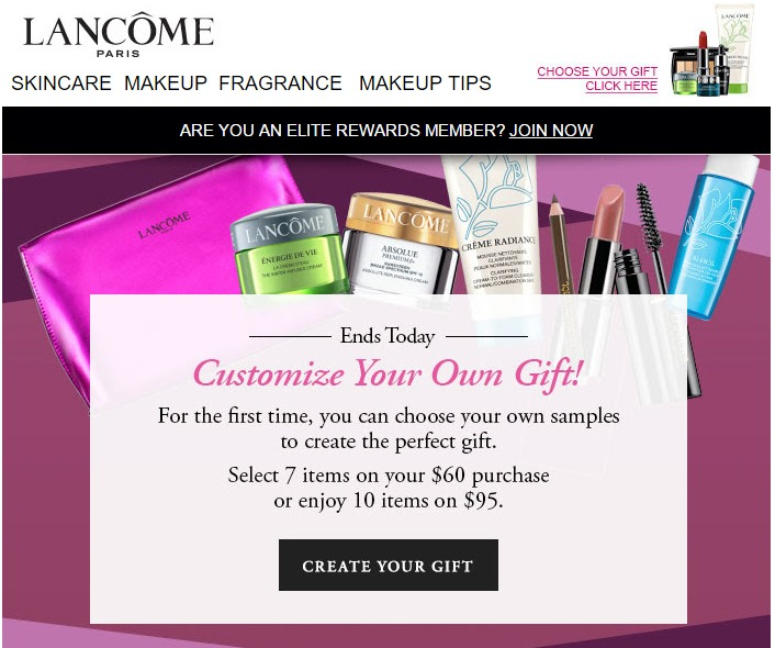 Lancome sends out an invitation like this to their non-loyalty members.