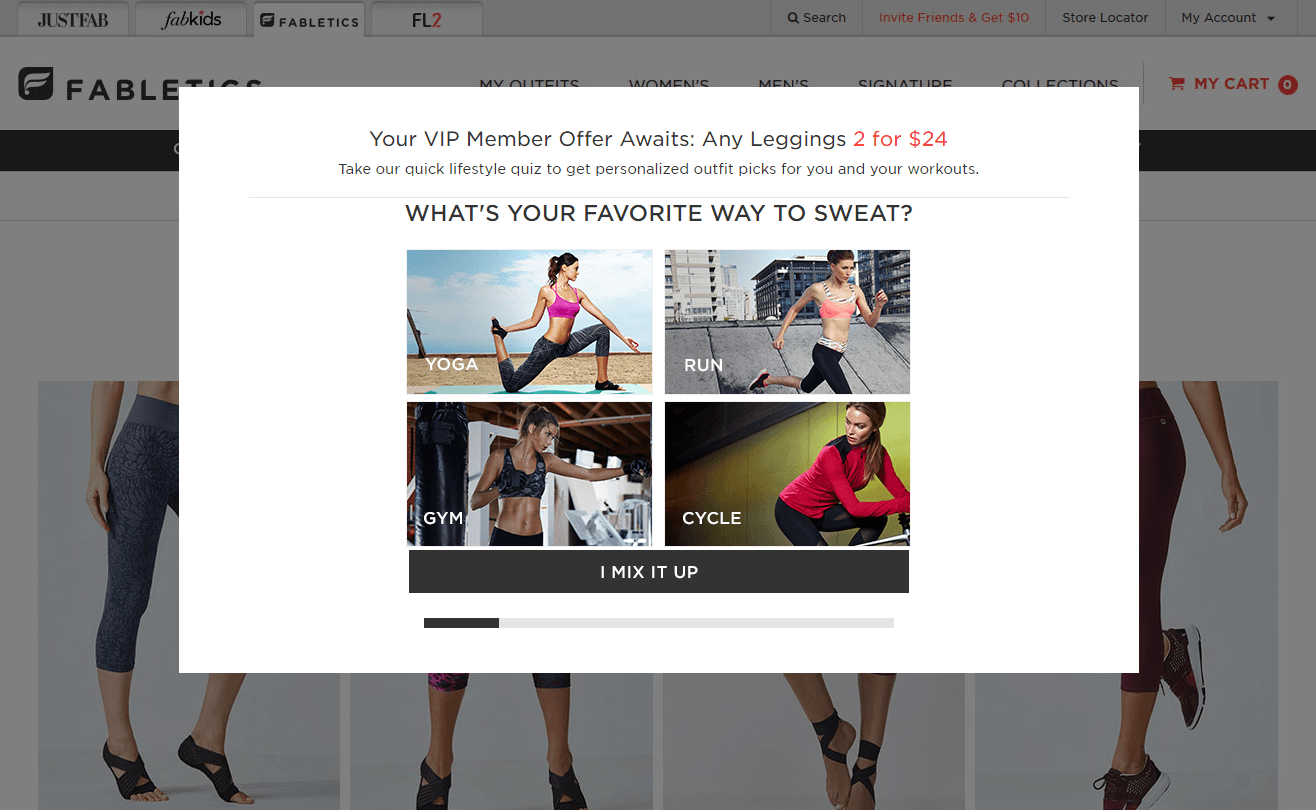 When you sign up to Fabletics' loyalty program they ask your preferences regarding products and outdoor activities.