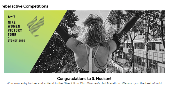 The lucky winner of Rebel's competiton has the chance to participate in the Nike + Run Club Women's Half Marathon.