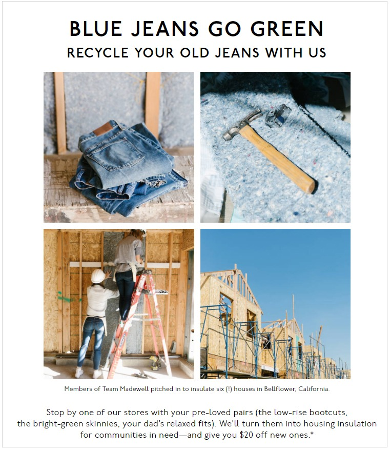 Madewell jeans recycling