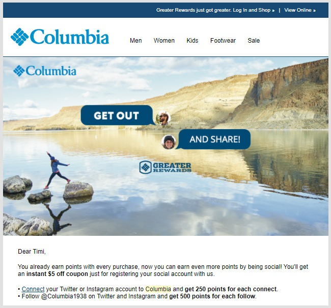 Columbia encourages members to earn points by connecting their social media accounts by rewarding them with extra points.