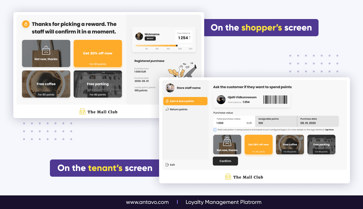 A side-by-side comparison showing how a loyalty action looks like on the shopper's and the tennant's screen of Antavo's Coalition Loyalty Hub.
