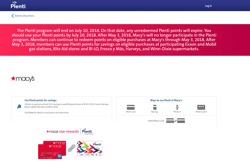 Plenti's coalition loyalty program page depicting the section of its sub-brand, Macy's