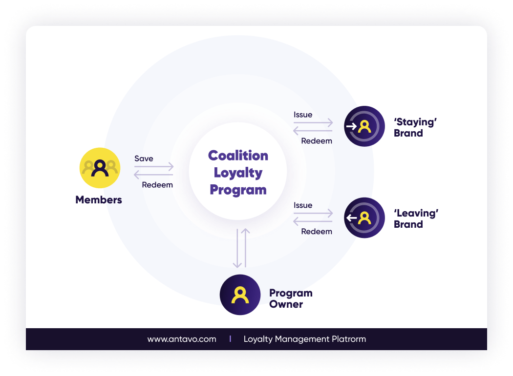 How the coalition loyalty program clearing and settlement feature works between members, program owners and brands.