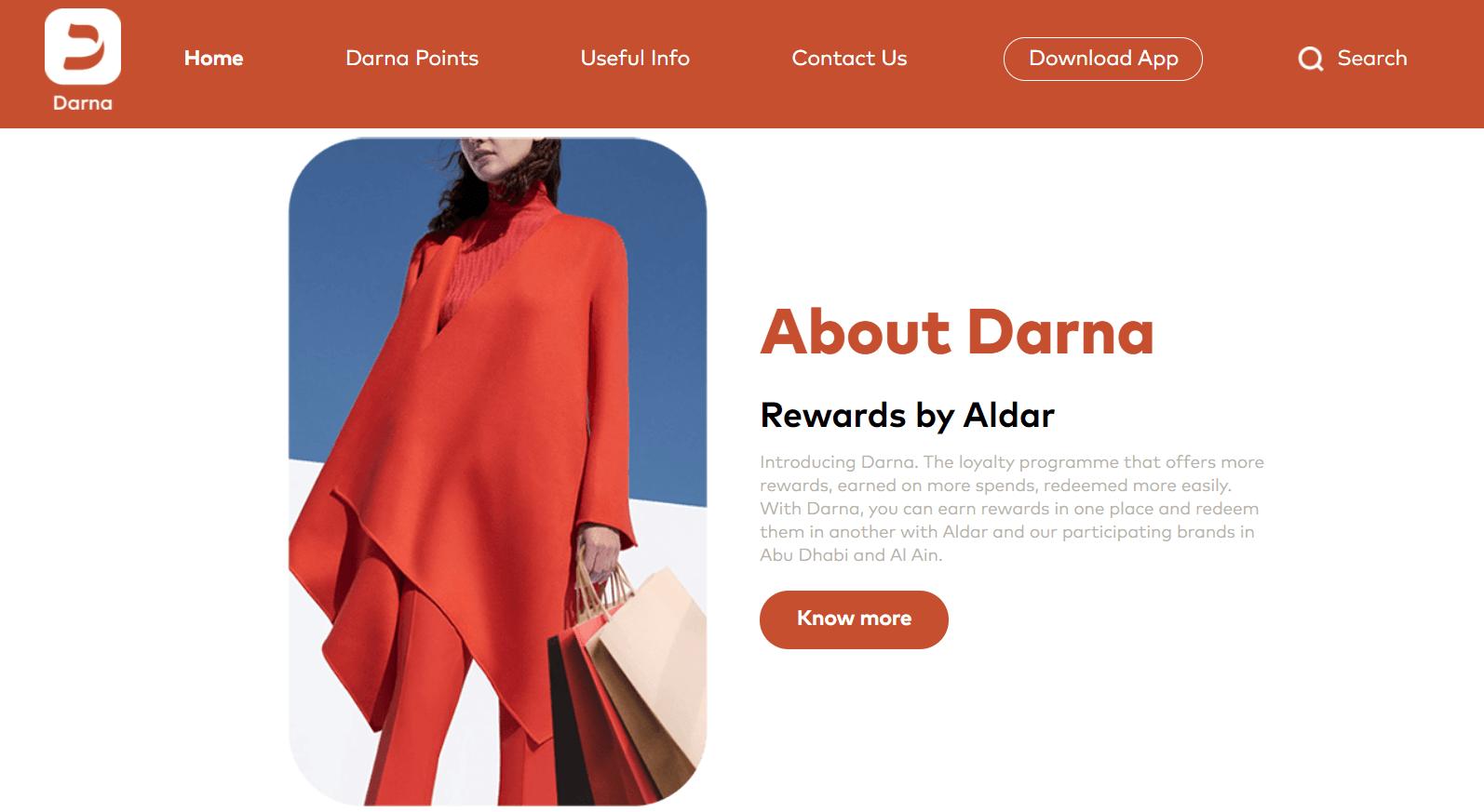 The main page of the Darna rewards coalition loyalty program