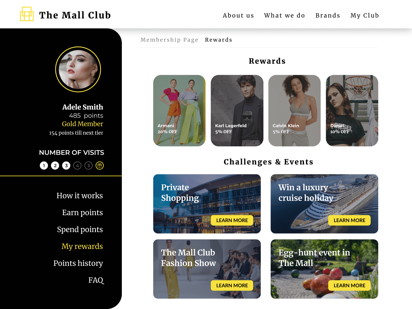 An Antavo-made example of a loyalty program membership page for malls