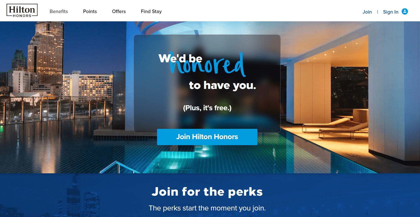 The main page of the Hilton Honors coalition loyalty program