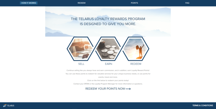 The main page of the Telarus reward program, overviewing the rules and benefits