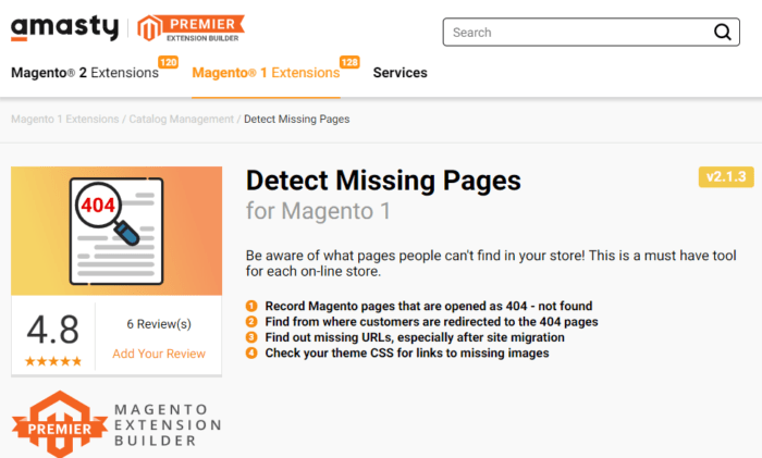 Magento apps Amasty Detect Missing Pages