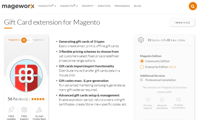 Magento apps MageWorx Gift Cards