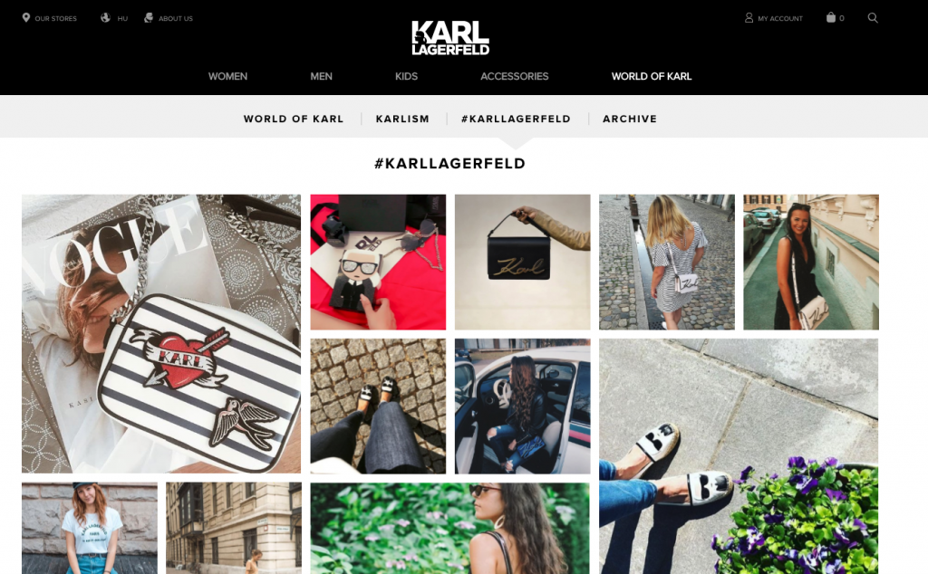 """The shoppable feed of customer-generated content on Karl Lagerfeld's """"World of Karl""""."""
