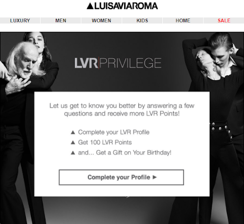 LuisaViaRoma uses a well-designed email and show their loyal customers how to earn more with the membership.