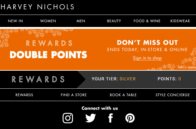 Harvey Nichols informs subscribers about their latest deals in personalized emails, because the feeling of being recognized is a better incentive than discounts.