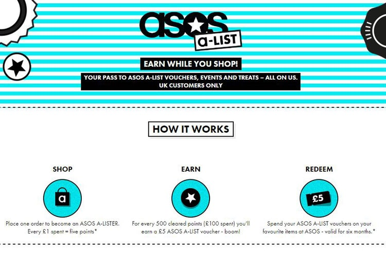 A-List was a highly popular loyalty program by ASOS that used tiers alongside earn & burn style loyalty elements.