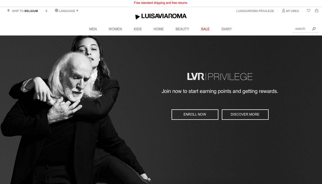 LuisaViaRoma runs a loyalty program called LVR Privilege that rewards faithful customers with numerous benefits, including bonus points, discounts and promo codes.