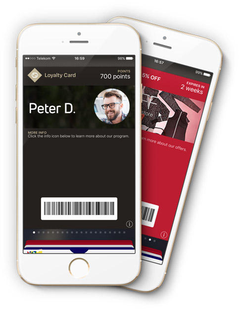 Mobile passes can help identify customers at the POS. These contain a unique customer ID and display the member's point balance and rewards in real time.