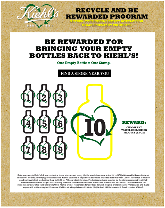 Kiehl's rewards customers for bringing back used bottles. It's an incredible start, but it is a standalone offer. As part of an omnichannel loyalty program, the customer could choose among multiple rewards, which feels more personal.
