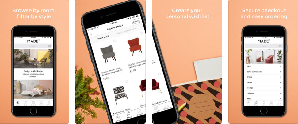 The designer-centric furniture company, Made, offers its own shopping app for smartphones. The phone-specific features - such as the ability to add wishlists - are also great connection points for a loyalty program.