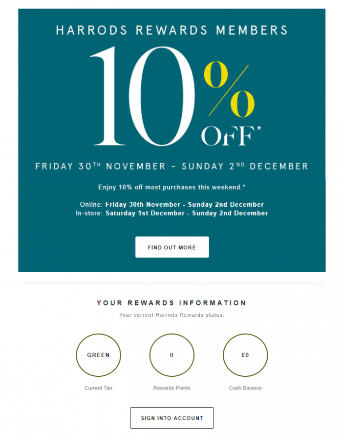 The marketing campaign of Harrods achieves personalisation by sending out emails enriched by loyalty data.