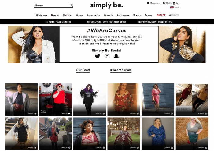 SimplyBe promotes a body-positive campaign, in which they encourage members to share photos where they are proudly wearing the company's garments.