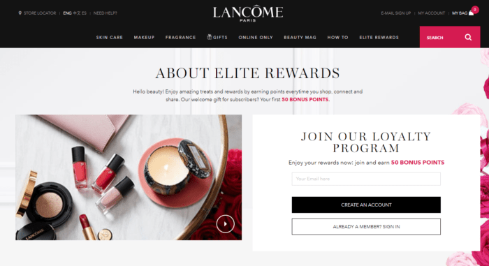 Lancome Elite Rewards Loyalty program