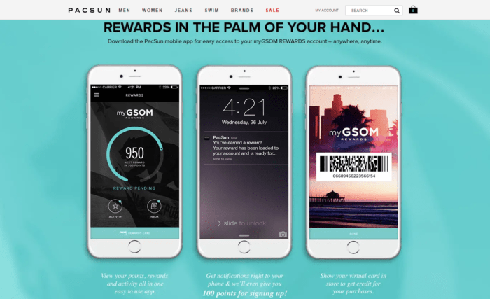 Athleisure company Pacsun's loyalty program can be accessed from the mobile, which is very fitting if you are always on the go. Furthermore, the tier system unlocks new rewards at each milestone.