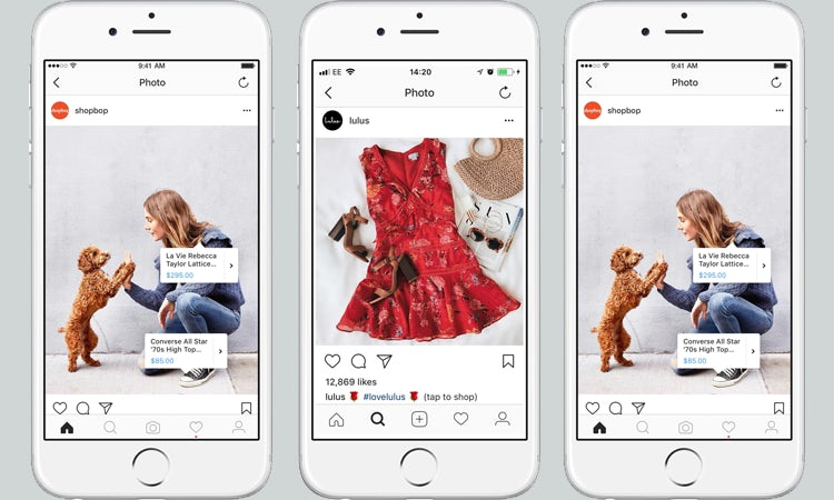 Three images demonstrating how Instagram shopping works