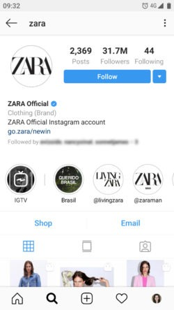 Zara's Instagram presence showcased