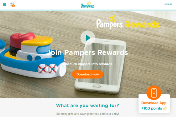 Those who join Pampers' loyalty program can earn points for downloading the mobile app, and then use it to create custom family albums.
