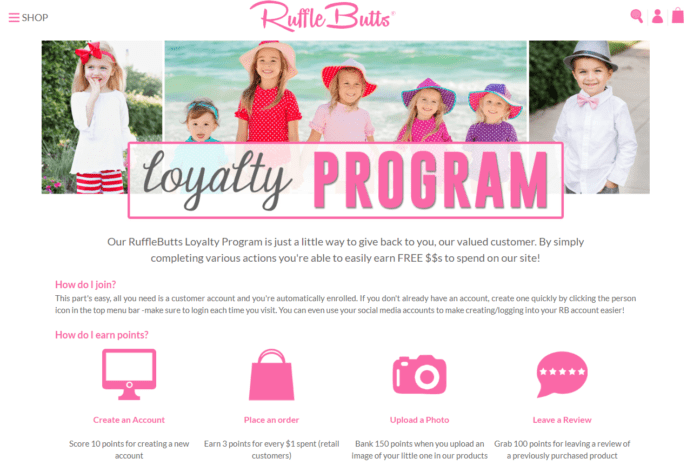 RuffleButts loyalty program with social proof element