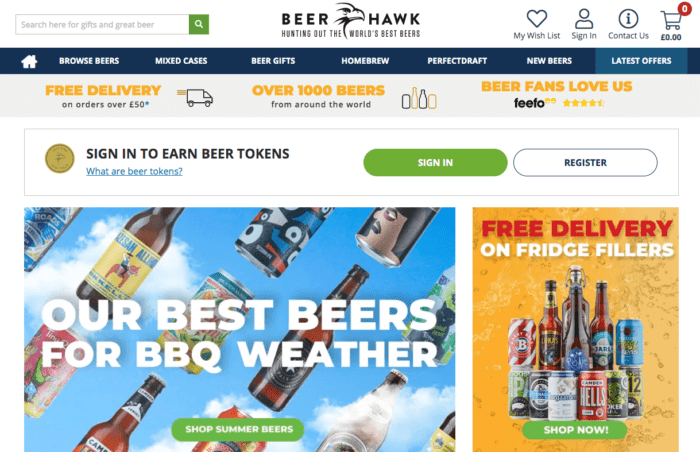Beer Hawk Beer Tokens loyalty program page