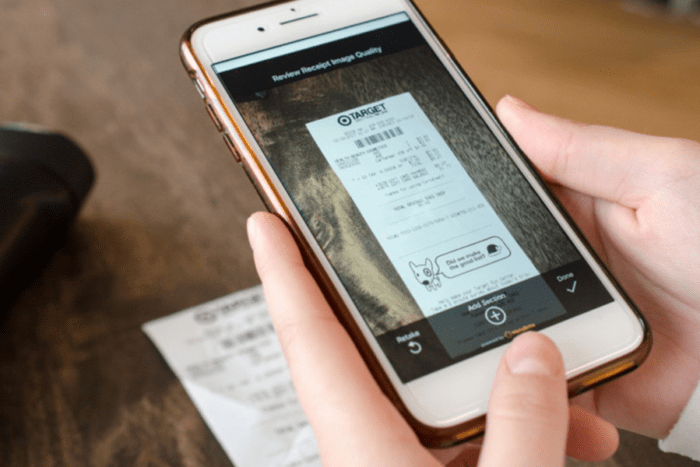 Using a phone to scan a receipt
