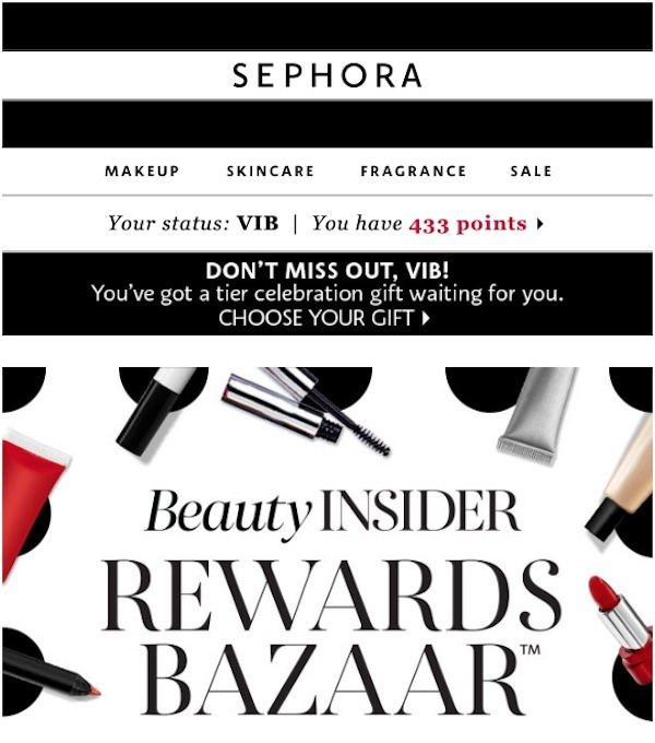 Sephora display customer status and the number of points they've earned at the top as a constant reminder about the rewards and benefits awaiting them.