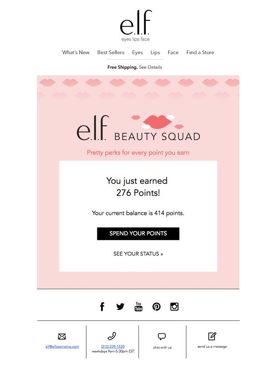 e.l.f. cosmetics' loyalty program triggers messages every time shoppers earn new points. Once again this is keeping the program and the awaiting rewards at the forefront of customers' minds.