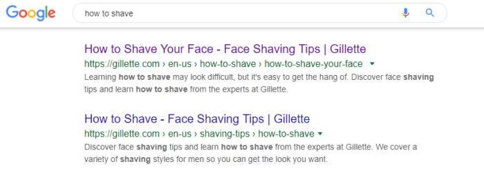 Loyalty Marketing SEO results in Google for shaving
