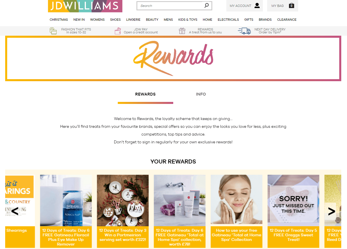 In last year's holiday campaign, JD Williams created a reward carousel where they shared a variety of product samples from partners, plus beauty tips and coupons during the first 12 days of Christmas.