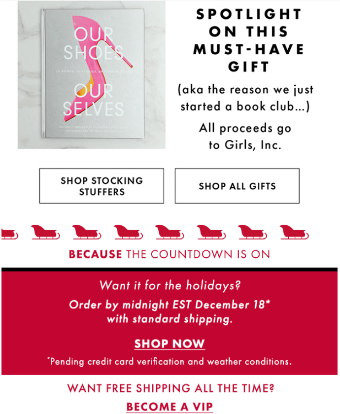 In 2019, DSW created a holiday campaign offering free shipping to non-members. The idea was to encourage customers who enjoy free shipping to join the program and have access to the benefit year-round.