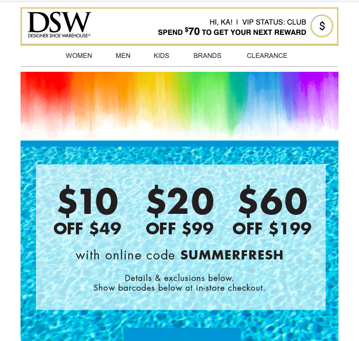 DSW email personalization