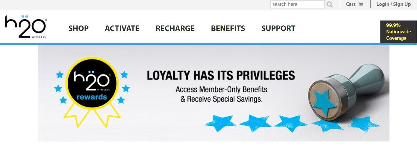 h2o heavily restricts who can be a loyalty program member: the personal rewards page is only available after registering an h2o wireless phone number with an active plan.