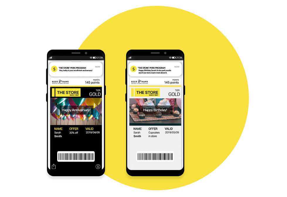 Send a surprise & delight birthday reward to customers, which they can redeem in store or at a partner's store using the mobile app, generating footfall in the process.