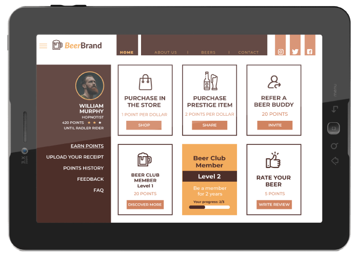 Here's how a next-gen loyalty membership site might look. It's a part of your website, and it displays the customer's profile, their status, points balance, achievements and informs customers of opportunities to earn and spend points.