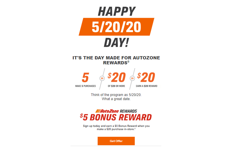 The simplicity of rules is reflected in the promotion of the program as well. On May 20, 2020, AutoZone offered a $5 bonus reward to new members.