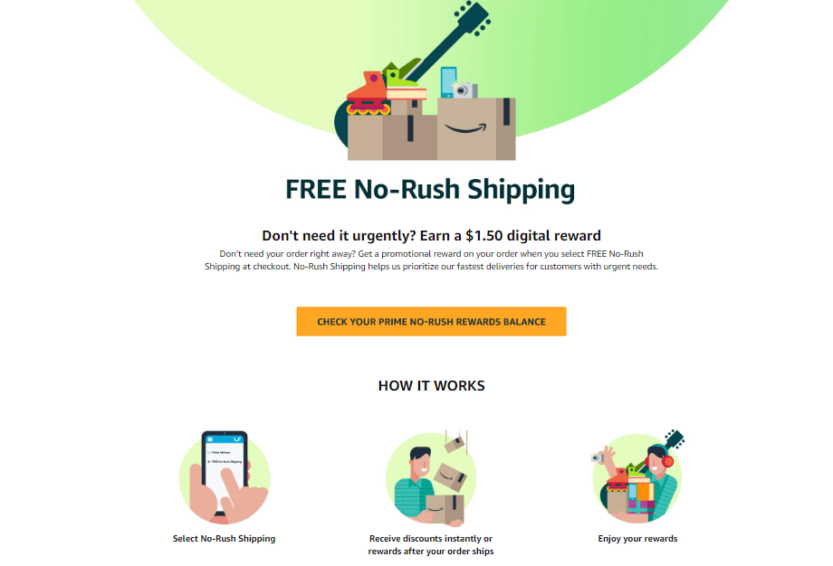 Currently, Amazon offers a $1.5 digital reward for each purchase delivered with No-Rush Shipping.