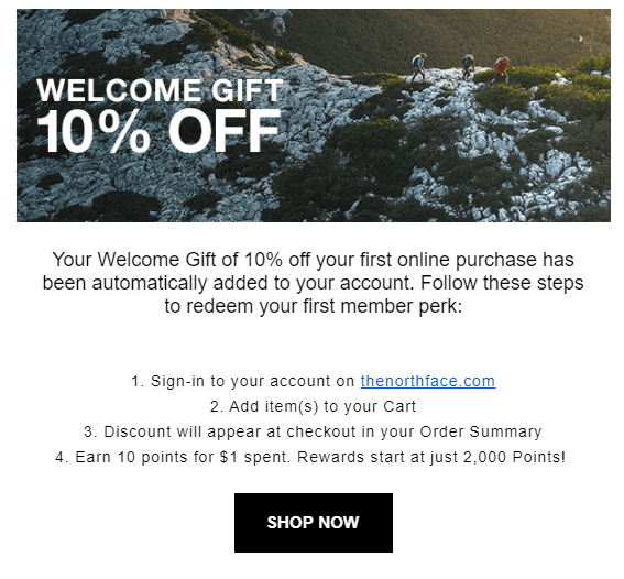 Right after joining the program, members are encouraged to make their first purchase and start earning with a 10% off welcome coupon.